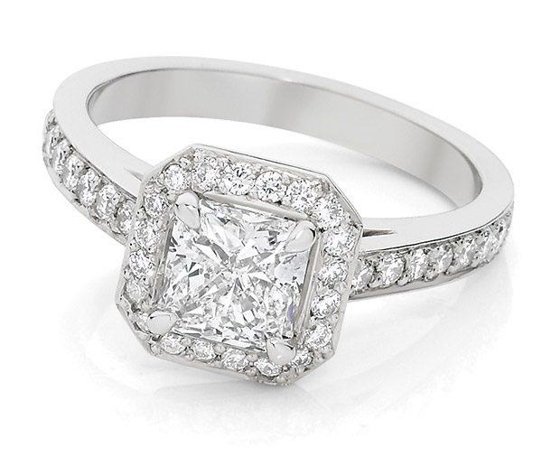 Square Radiance diamond halo ring