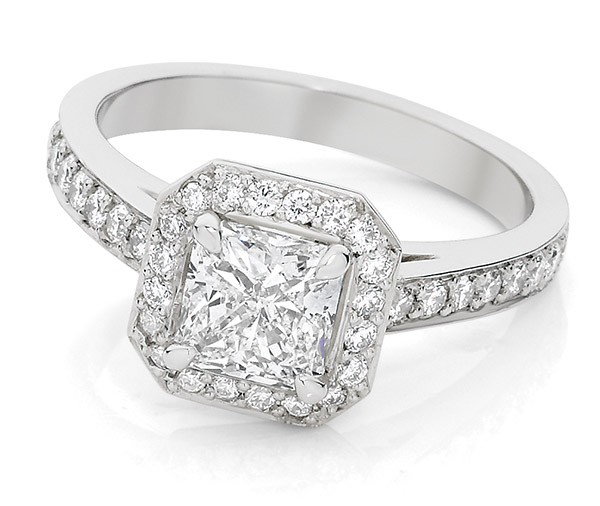 Square Radiance diamond halo ring