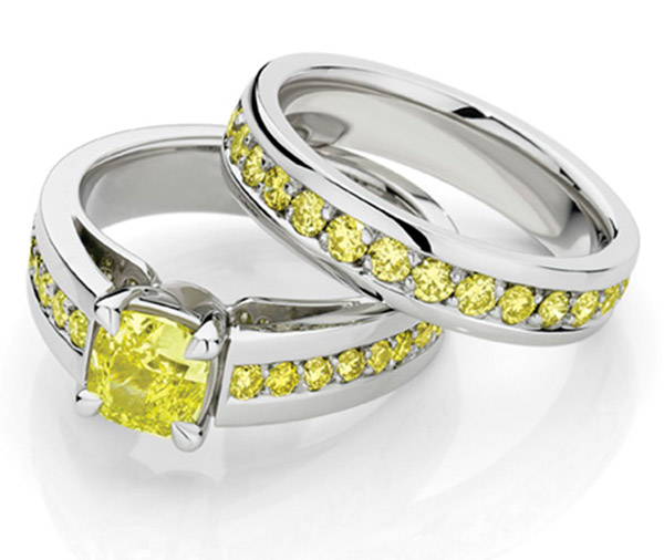 Sundance Forever Yellow diamond wedding ring set