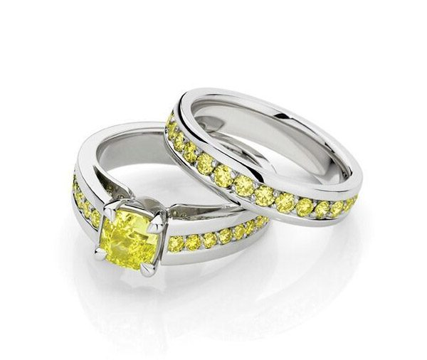 Sundance Together - yellow diamond & shoulder diamond ring set
