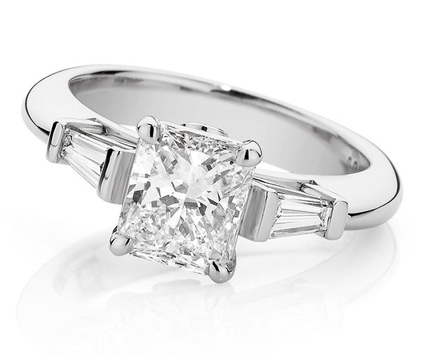Radiant cut & tapered baguette three stone white gold engagement ring