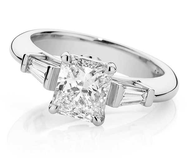 Tiger Lilly three stone engagement ring