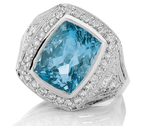 Vintage Aqua - Aquamarine and diamond ring