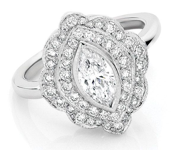 Vintage Marquise diamond cluster