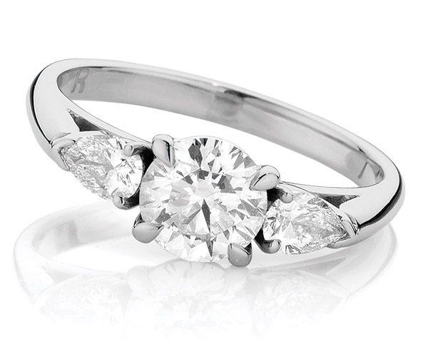 Vintage Nashi Pear diamond trilogy ring