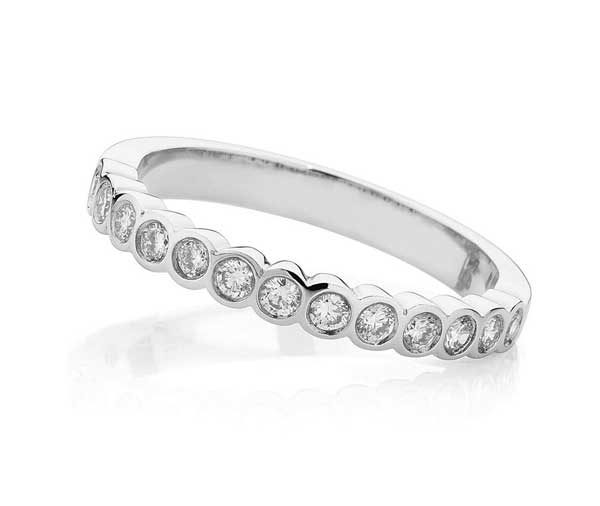 Forever Round Rubover set diamond wedding band