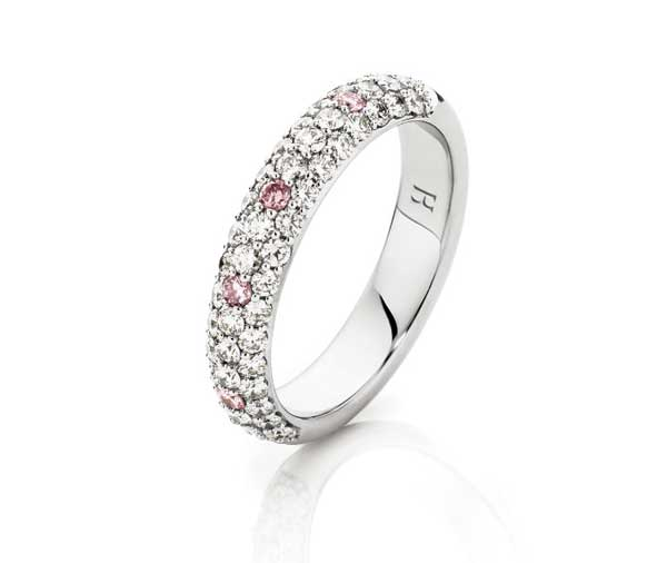 Pink & white pave diamond wedding ring
