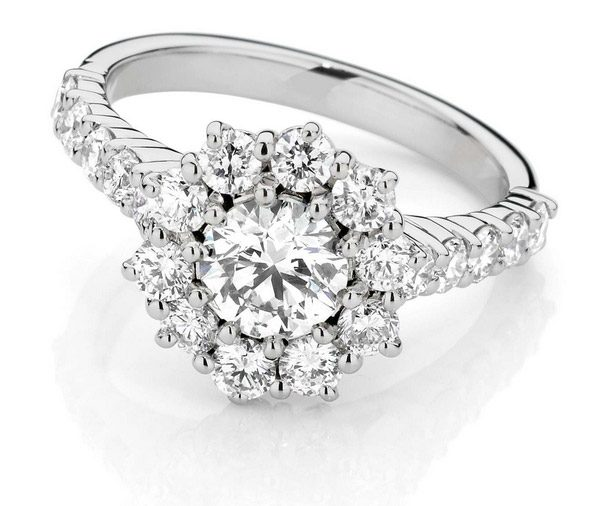 Starburst Delight: Double Basket Shoulder Cluster Diamond Engagement Ring