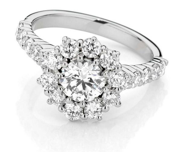 Starburst Delight: Double Basket Shoulder Cluster Diamond Engagement Ring