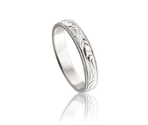 Engraved flat millegrained wedding ring