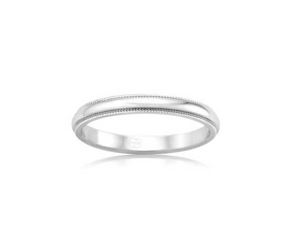 White Aniko Millegrained half rounded band