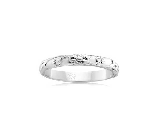 white gold relief pattern wedding ring