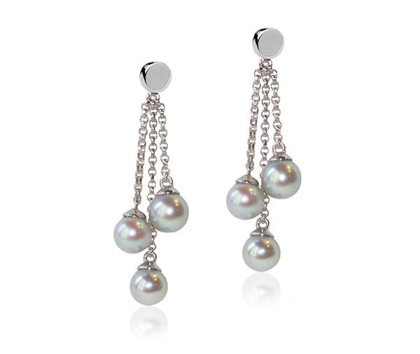 Akoya multi pearl drops earrings in white gold chain