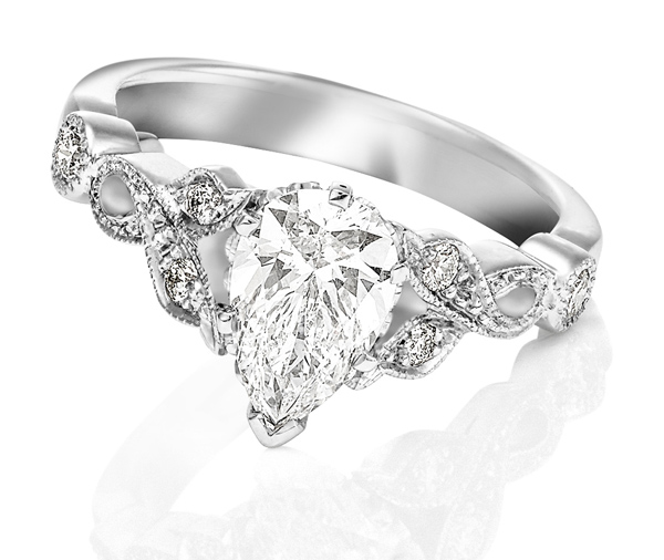 white gold pear cut shaped diamond ring with vintage vine band bead set with diamonds