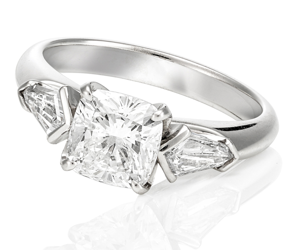 Carolyn Engagement Ring: cushion & kite diamond trilogy ring