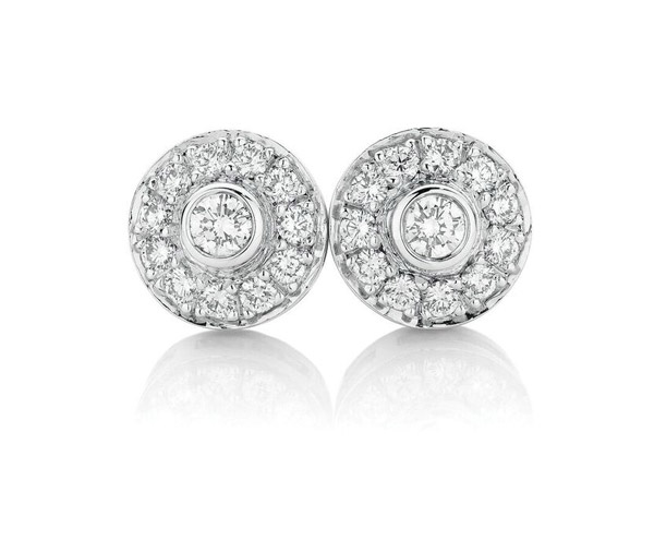 Diamond Halos Round diamond cluster studs