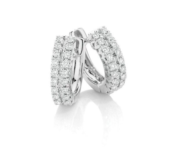 Double Diamond huggies earrings