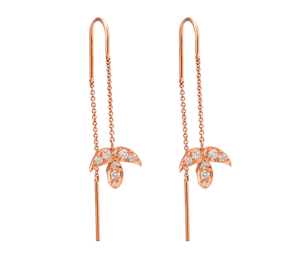Falling For You Earrings: Rose Gold Diamond Leaf Threads