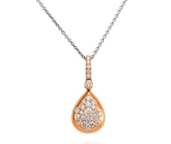 rose gold droplet shaped pendant speckled with assorted round brilliant diamonds on a white gold trace chain necklace