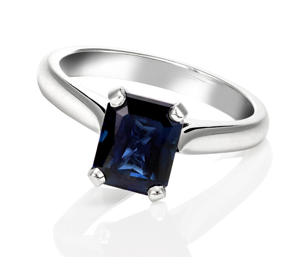 white gold emerald cut Australian sapphire solitaire engagement ring