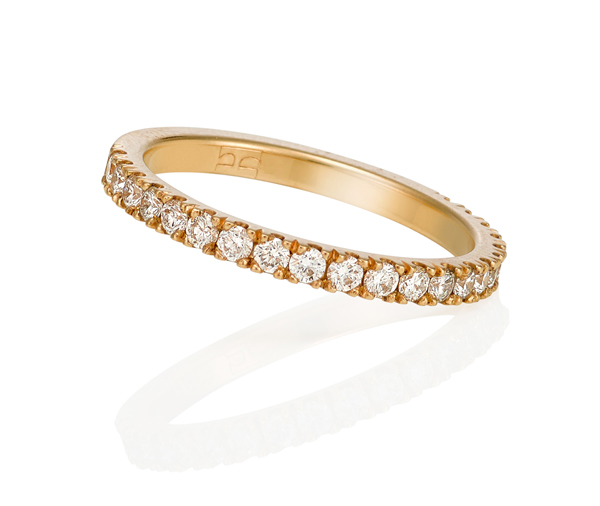 yellow gold wedding band with 3/4 circle of micro claw diamonds