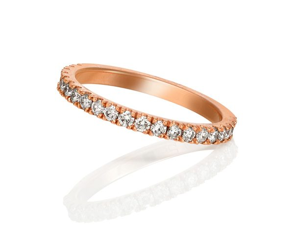 rose gold wedding ring with 3/4 circle of micro claw set diamonds