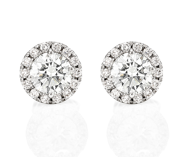 white gold round diamond micro claw halo stud earrings