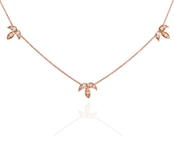 Three Leaves: Three Leaf Rose Gold Necklace