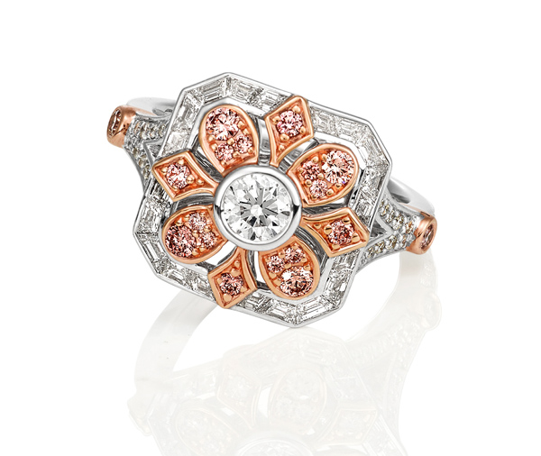white and rose gold dress ring