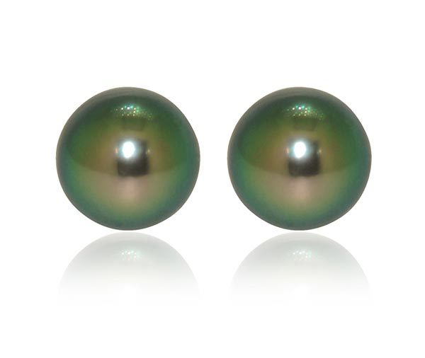 Peacock Tahitian pearl stud earrings