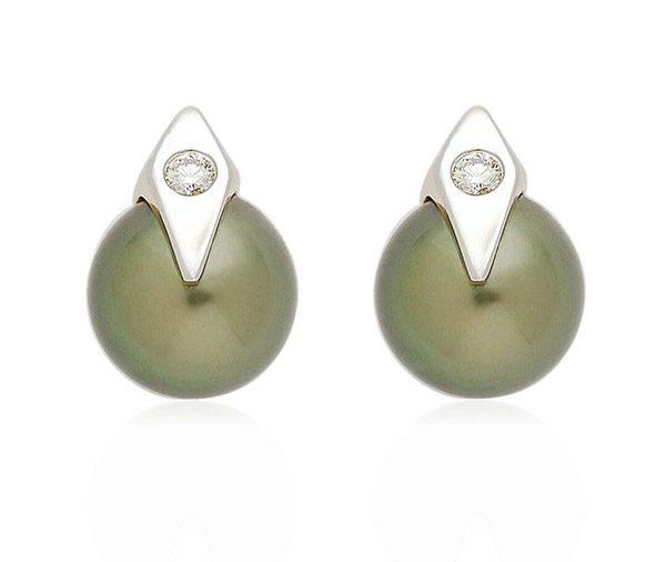 tahitian & kite shaped diamond studs earrings