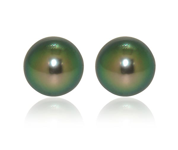 Peacock Tahitian pearl stud earrings