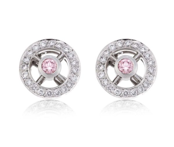 Pink & White Wheel Earrings diamond studs