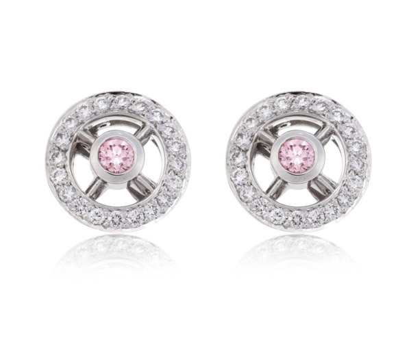 Pink Wheel Earrings diamond studs