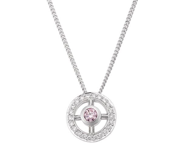 Pink & white diamond circle pendant