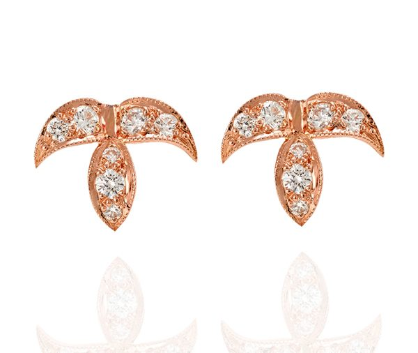 Fallen: Rose Gold Diamond Leaf Studs