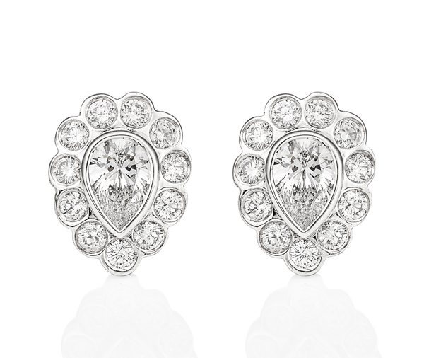 Pitter Patter Diamond Earrings: pear & round diamond bezel and scallop studs