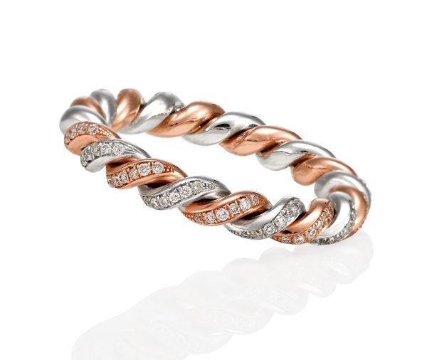 rose and white gold twist ring grain set with diamonds