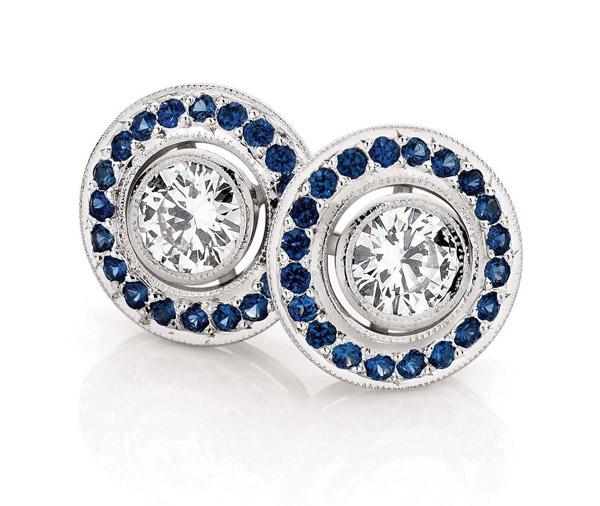 Sapphire Seas Diamond and Ceylon sapphire halo studs