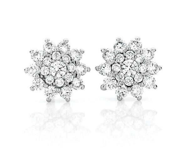 round diamond starburst cluster studs earrings