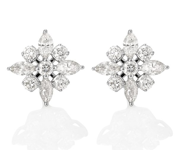 Winter Star: marquise and round star cluster earrings