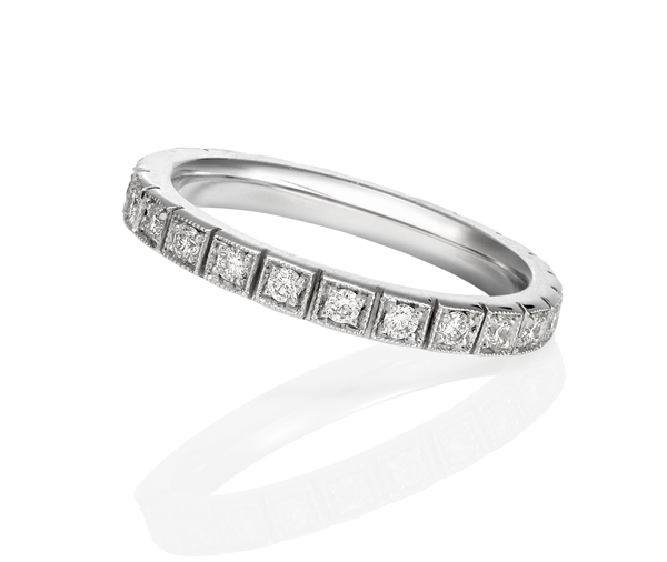white gold full circle of round diamonds individually grain-set into a square box setting