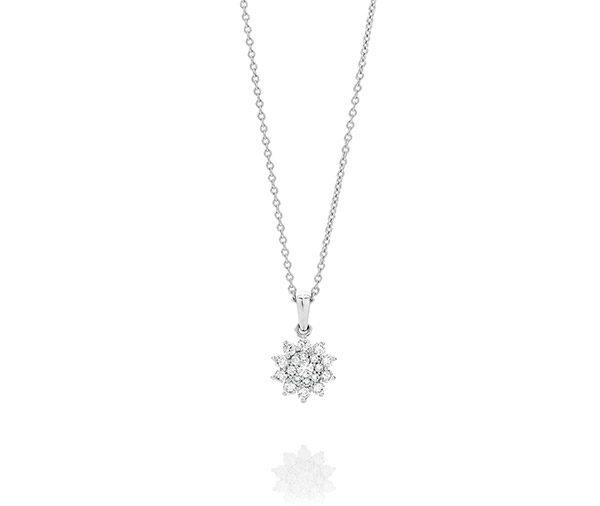 small round brilliant cut diamonds in a starburst cluster design on a trace chain necklace