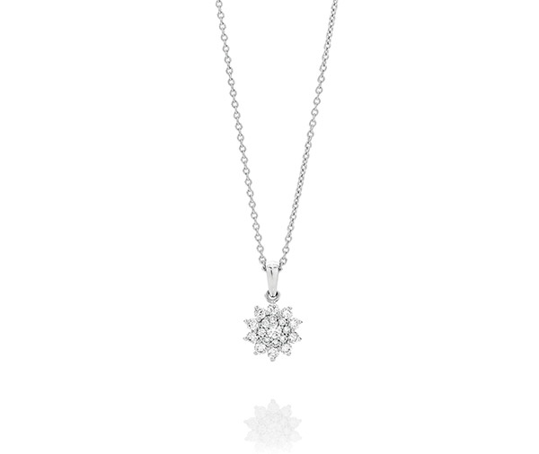 small round brilliant cut diamonds in a starburst cluster design on a trace chain necklace