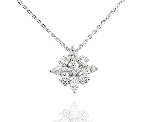 Winter Star: marquise and round diamond star cluster pendant