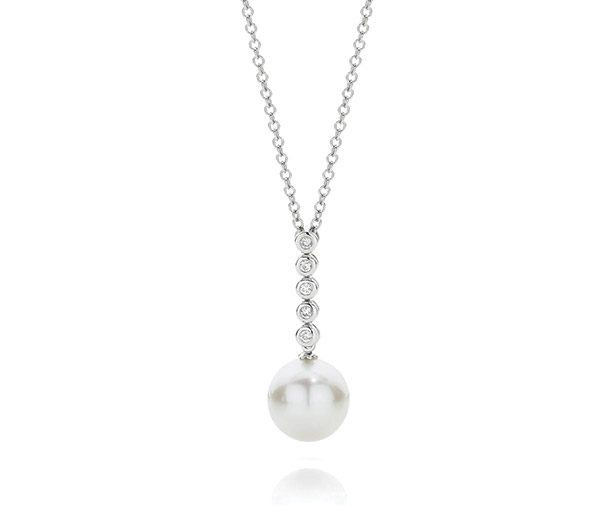 Wonderlust Bezel set diamond & south sea pearl drop