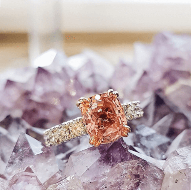 Floria padparadscha engagement ring