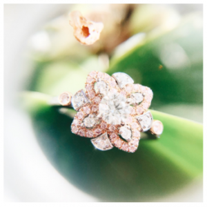Pink diamond petal ring